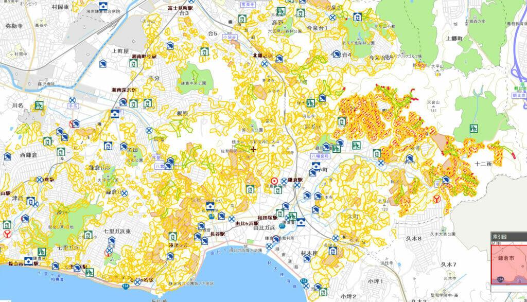 鎌倉の土砂災害危険マップ