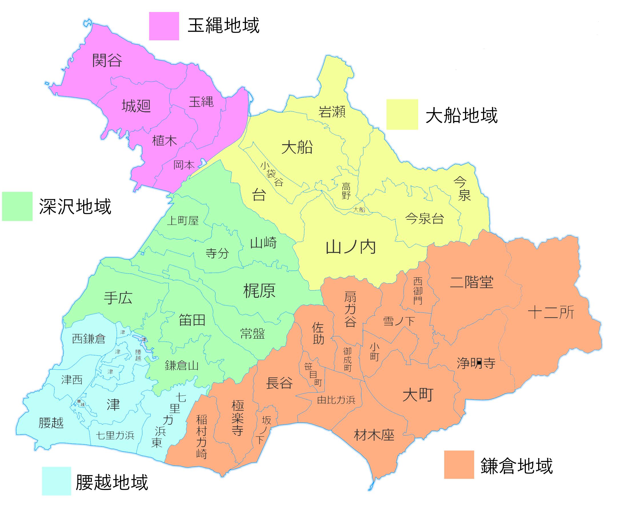 鎌倉の地域別人口と高齢化